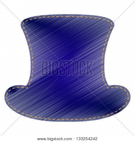Top hat sign. Jeans style icon on white background.