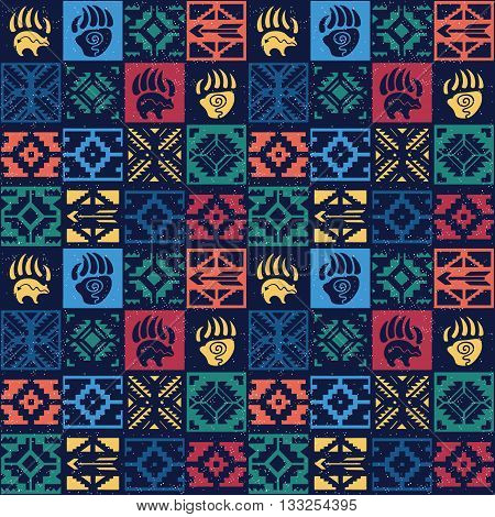 Seamless colorful decorative pattern in tribal style