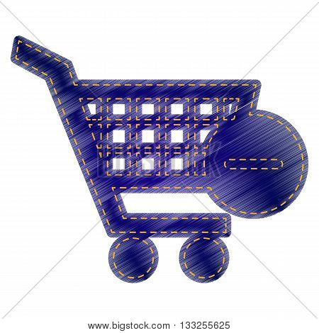 Vector Shopping Cart with Remove sign. Jeans style icon on white background.