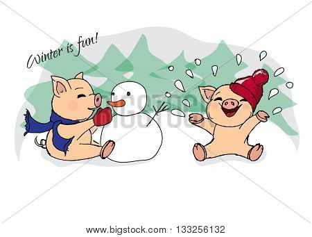 Hand-drawn Illustrations. New Year Card. Winter Card With Pigs. Children Playing With Snow. Piglets