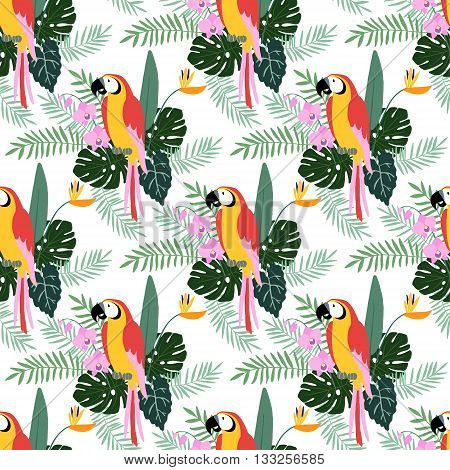 Tropical jungle seamless pattern with parrot bird orchid and strelitzia flowers palm and monstera leaves flat design vector illustration background