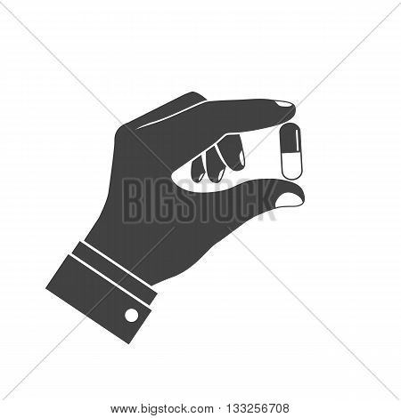 Icon pills in hand. Doctor holding of pills in his hands. Healthcare concept. Tablets in hand. Capsules in their hands. Take pills. Pills in the hands of the pharmacist. Vector flat design.