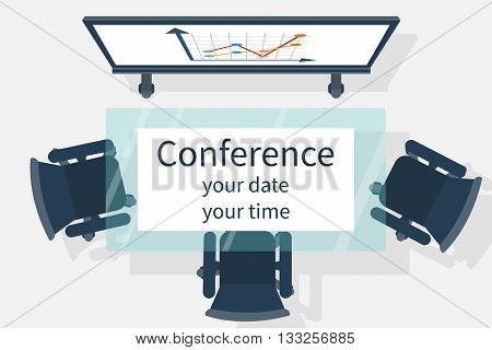 Invitation to the conference. Vector illustration flat design. Empty audience meetings conferences lectures top view. Business events concept. Invitations to the meeting.