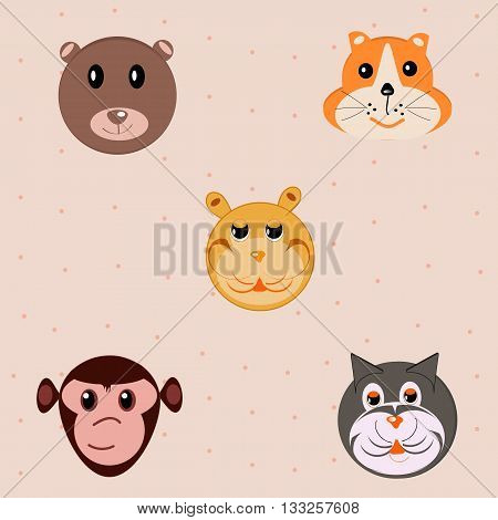 Cat, bear, beaver, monkey, tiger - five animals faces in a cartoon style