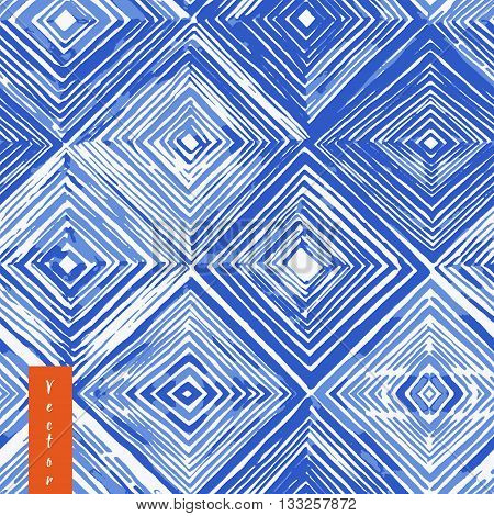 Watercolor shibori seamless pattern. Indigo tie dye pattern. Rhombus watercolour illustration.