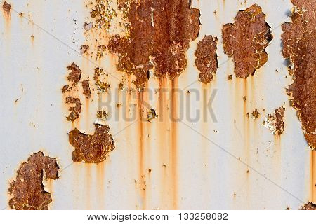 Old Painted Metal Texture With Traces Of Rust.