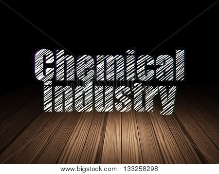 Manufacuring concept: Glowing text Chemical Industry in grunge dark room with Wooden Floor, black background