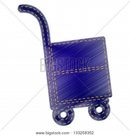 Hand truck sign. Jeans style icon on white background.