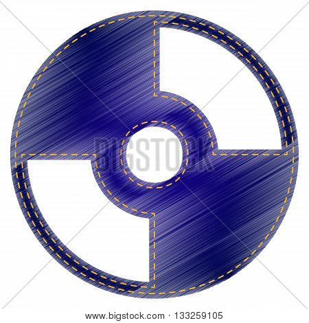 Vector CD or DVD sign. Jeans style icon on white background.