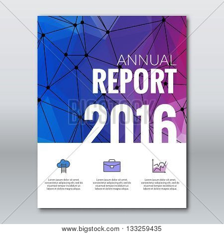 Cover Annual Report Business Colorful Triangle Polygonal Geometric Design Background, Cover Magazine, Brochure Book Cover Template, vector illustration.