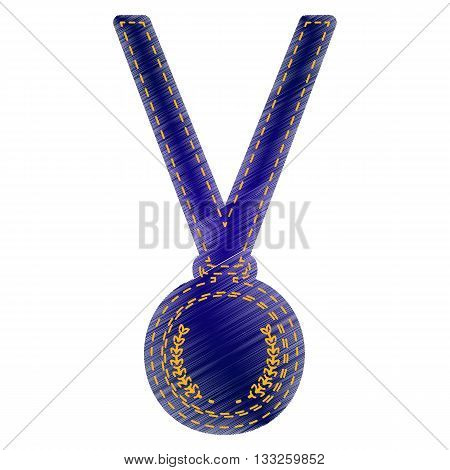 Medal simple sign. Jeans style icon on white background.
