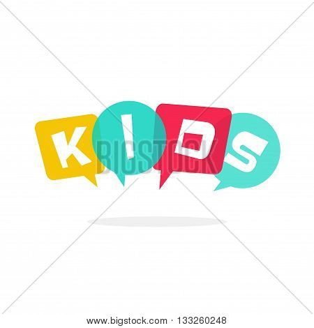 Kids vector logo isolated on white, kids club symbol with bubble speech, concept of kids talking, children education school school logotype