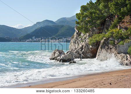 Adriatic Sea in St. Stephen in Montenegro.