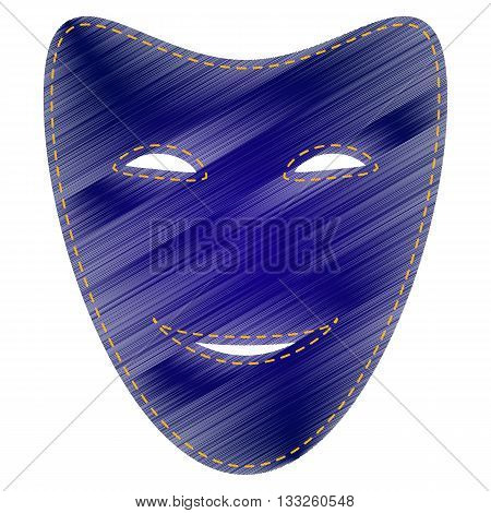Comedy theatrical masks. Jeans style icon on white background.