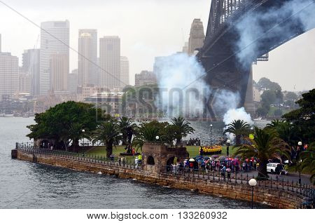 Sydney, Australia - Jan 26, 2015. Australian Army is firing a traditional 21 Gun Salute on Australia Day. Salutes were considered a gesture of friendship and trust, and are always fired with an odd number of rounds as this was considered lucky.