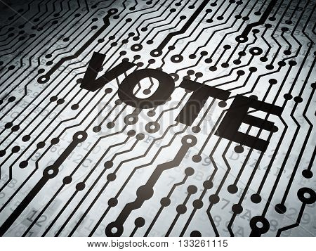 Politics concept: circuit board with  word Vote, 3D rendering