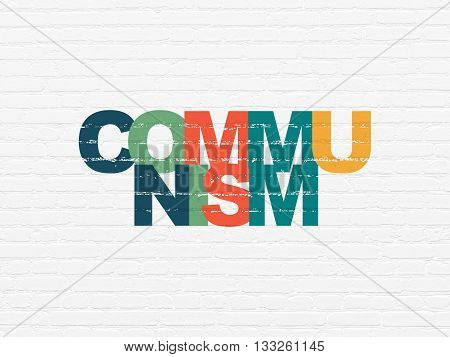 Politics concept: Painted multicolor text Communism on White Brick wall background