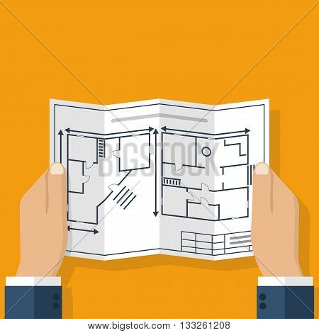 Architect holding in hand blueprint house. Construction project a sketch plan. Engineer holding a blueprint. Vector flat design illustration