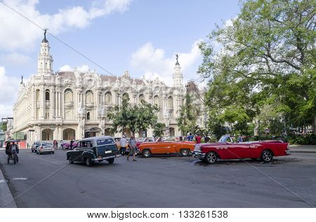 HAVANA - NOVEMBER 29: The Great Theater and the famous nearby square on 29 November 2015 in Havana, Cuba. Havana's old town is a UNESCO World Heritage Site.