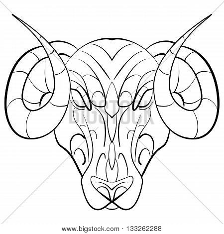 Hand drawn astrological zodiac sign Ram or Aries. Line art vector illustration of engraved horoscope symbol. Head with horns