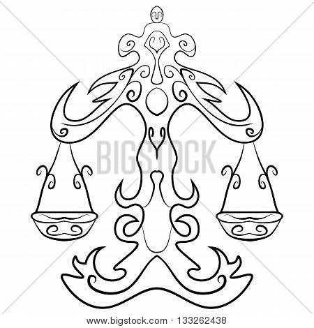 Hand drawn astrological zodiac sign Scales or Libra. Line art vector illustration of engraved horoscope symbol. Libra tattoo ink sketch