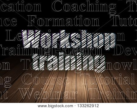 Learning concept: Glowing text Workshop Training in grunge dark room with Wooden Floor, black background with  Tag Cloud