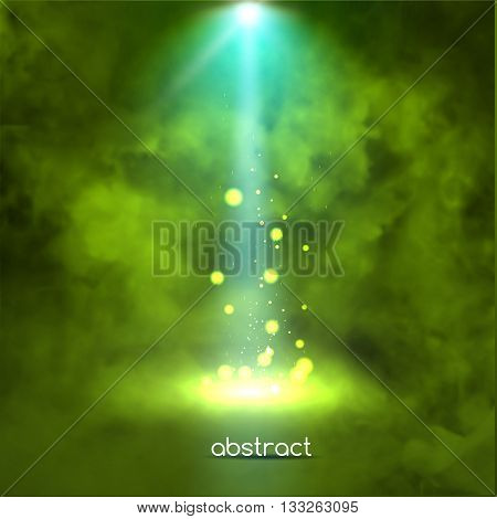 Premiere Green Show background sparkles. Smoky vector stage shining with rays spotlight on glowing particles.