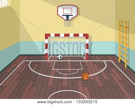 Vector flat illustration of sport room in institute, college, university, school. Basketball, football and soccer balls. with ladder for health care. Gate with net. Window with sunshine beams. EPS 10