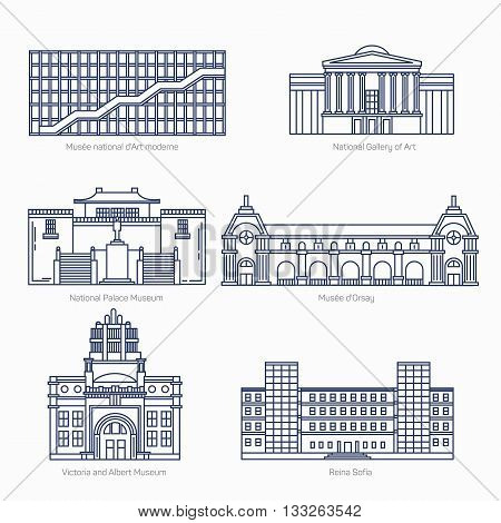 Monuments thin line vector icons. National Gallery of Art, National Palace Museum, Orsay, Victoria and Albert Museum, Sofia. Famous world museums. Eps 10