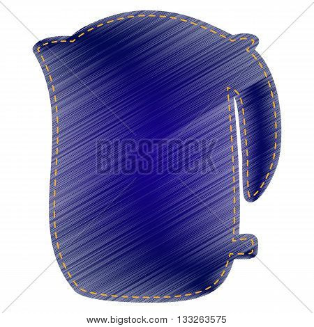Electric kettle sign. Jeans style icon on white background.