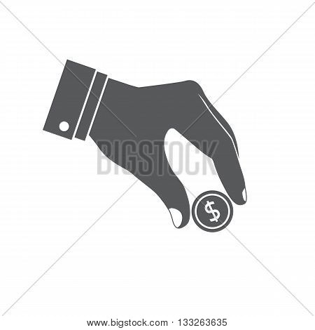 Donat icon. Give money icon. Coin in hand. Donate giving money. Vector illustration. Dollar coin in hand.