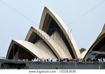 Sydney, Australia - Jan 26, 2015. HMAS Canberra warship anchored at Opera House on Australia Day