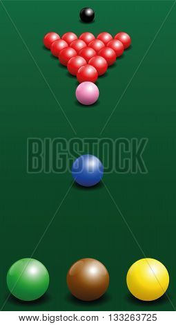 Snooker starting position of the twenty-two balls. Vector illustration on green gradient background.