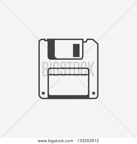 Floppy disk monochrome icon on white background. Vector illustration.