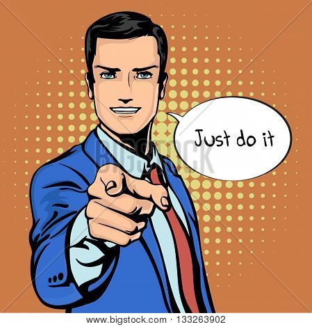 Vector illustration of successful businessman pointing finger in vintage pop art comics retro style. Likes and positive feel. Gesture good, agree and smile. EPS 10