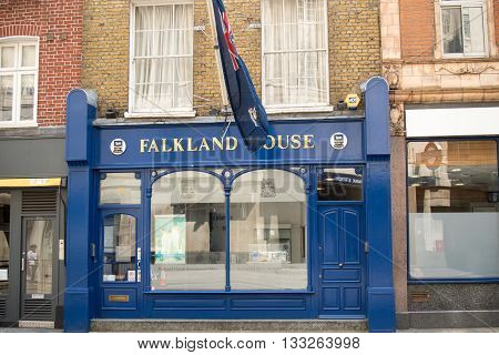 London United Kingdom - June 5th 2016: The Government of the Falkland Islands UK Office. The Falklands a British Overseas Territory has its office at 14 Broadway.