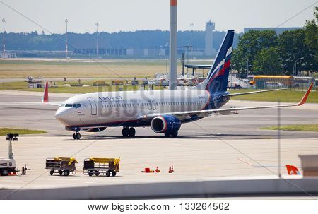 BERLIN / GERMANY - JUNE 4 2016: Aeroflot - Russian Airlines Boeing 737-8LJ (WL) plane drives to the terminal on airport schoenefeld berlin / germany at june 4 2016
