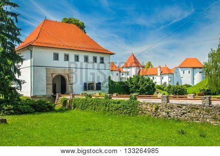 Old city gate and castle in Varazdin, Croatia, originally built in the 13th century