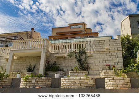 View at houses in Korcula island Croatia