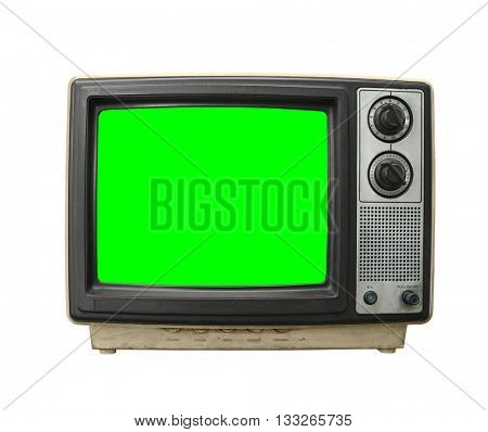 Grungy dirty old television on white with chroma key green screen.