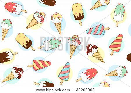 Colorful seamless pattern with ice cream different pastel color in line graphic. Vector illustration