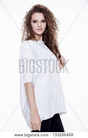 Portrait of beautiful young adult attractive sexy and sensuality happy smiling pretty brunette woman dressed, Isolated on white background