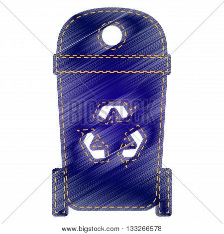 Trashcan sign illustration. Jeans style icon on white background.