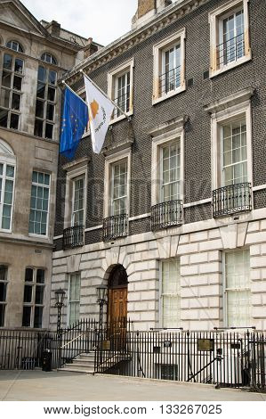 London United Kingdom - June 5th 2016: The Cyprus High Commission to the United Kingdom located at 13 St. James's square.