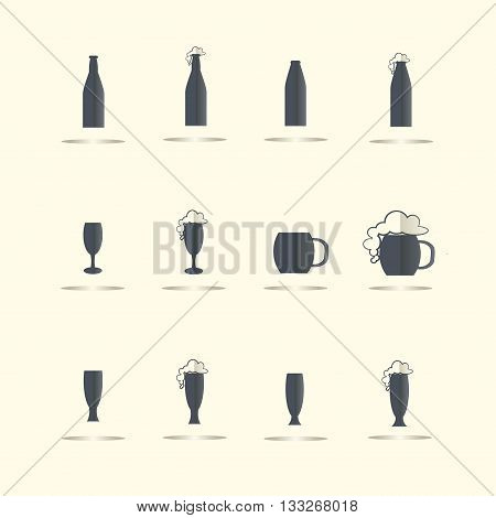Beer and cider flat icons. Dark blue glass and bottle with gray shadows on light yellow, vector illustration