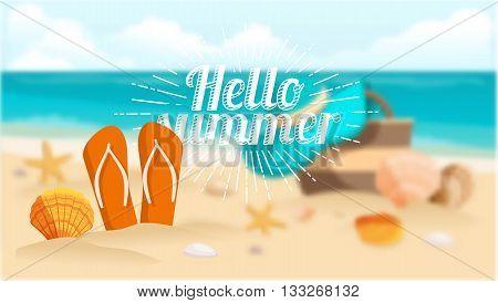 Shell on the beach, shale sand, sea, ocean, Sunburst lettering. Vector illustration.