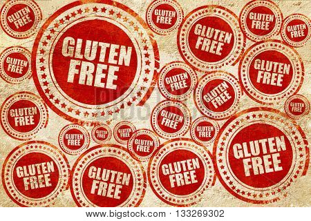 gluten free, red stamp on a grunge paper texture