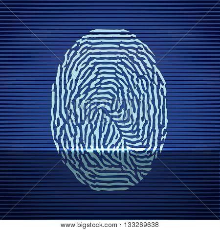 Fingerprint identification scanning system. Finger print icon blue. Vector illustration.