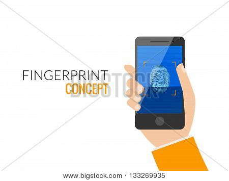 Finger Print Smart Phone Access Lock, Business Man Touch Screen Fingerprint Hands Scan Security Flat Vector Illustration.
