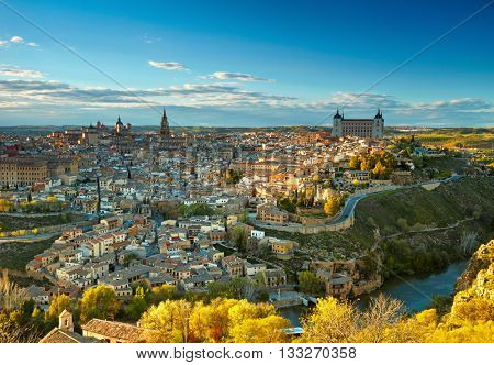 Toledo in sunset lights, Spain